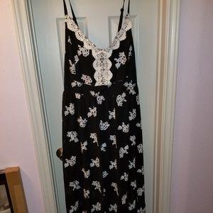 Torrid Black & White Embroidered Maxi Dress